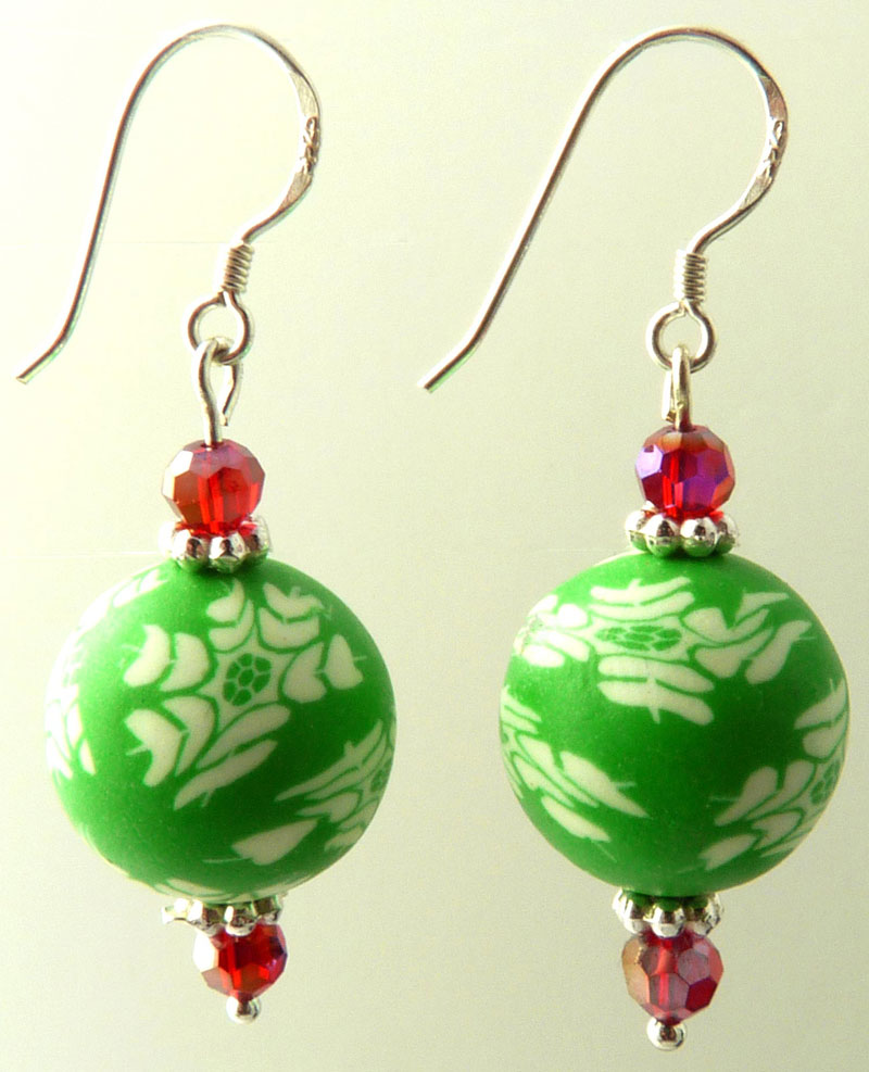 Polymer Clay Christmas Earrings.Frosty Single Ball Crystal Polymer Clay Earrings Snowflake