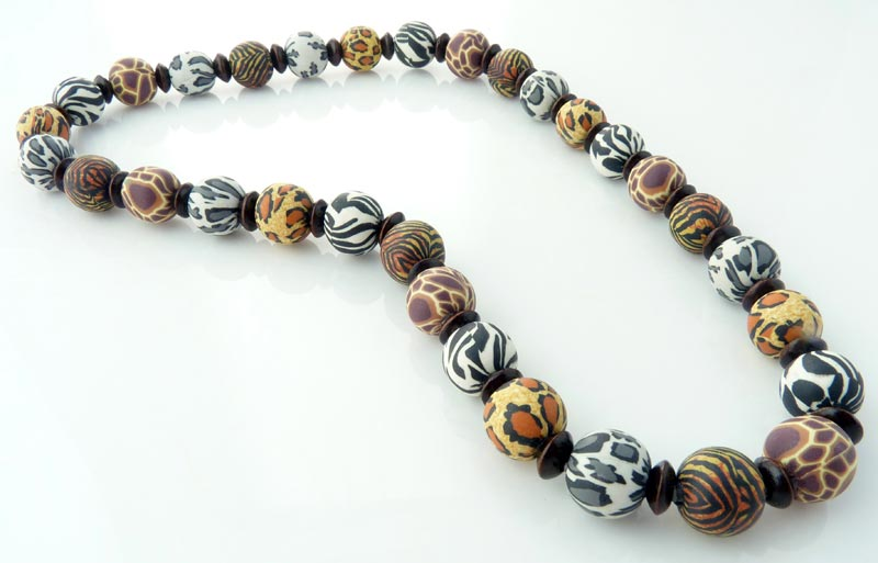 kenya 10mm wood polymer clay necklace snazzy
