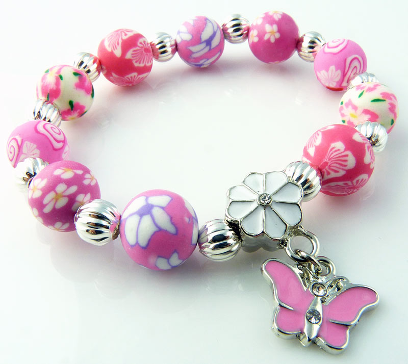 Snazzy Girls 10mm Polymer Clay Butterfly Charm Bracelet - Pink ...
